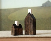 miniature houses solid wood walnut stained minimalist wood town set - TheHauntedHollowTree