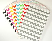 YOU CHOOSE COLOR Middy Bitty, Medium Size, Chevron Striped Paper Treat Bags - Qty 20