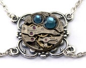 Steampunk Necklace - A Vintage Watch Movement Jewelry with Montana Blue Swarovski Crystals -  PROMPTLY SHIPPED Steampunk Jewelry