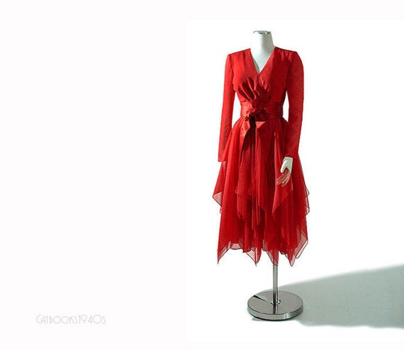 Vintage LUIS ESTEVEZ Dress - Flame Red Silk Cocktail Party Handkerchief Hem Full Skirt XS