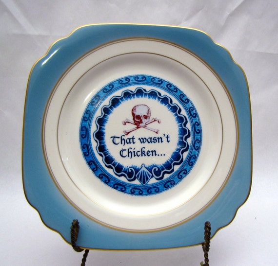 Poison Plate Ivory and Blue altered vintage That wasn't chicken  Skull and Cross Bones wall dish Olympian Blue Red Retro Halloween