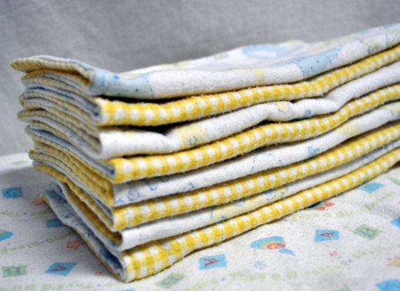 7 Reusable Upcycled Cloth Washies -Farm Animals and Yellow Gingham