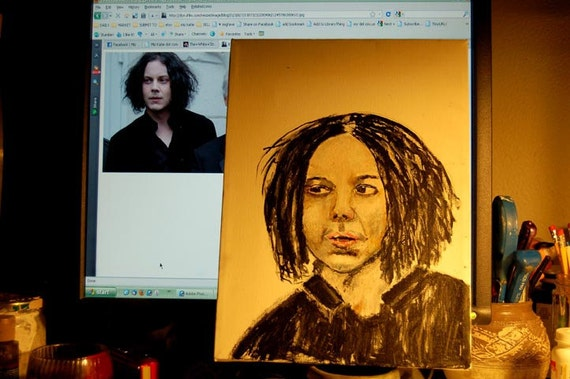 Original Acrylic Portrait Painting - Musician Jack White singer songwriter face orange The White Stripes The Dead Weather