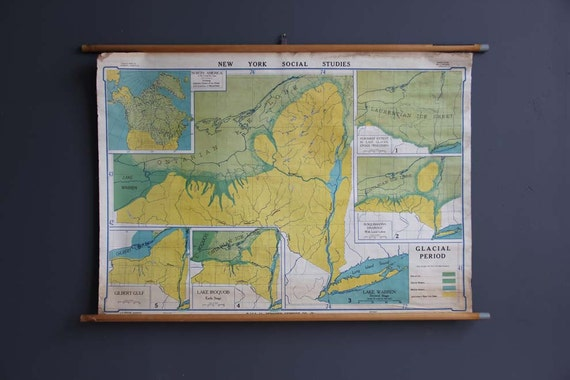Unique 1950s Vintage School Map. New York Glacial Period. Great Colors