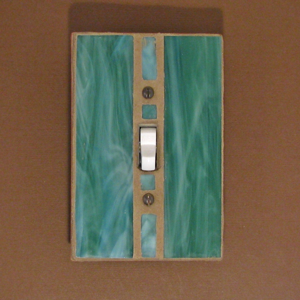 Decorative light switch cover stained glass green for Unique light switch plates