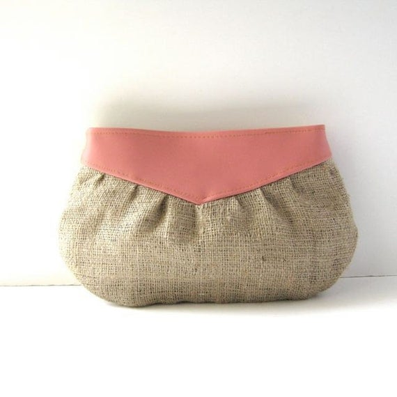 Clutch // Coral Pink Faux Leather - Natural Rustic Burlap // Made to Order
