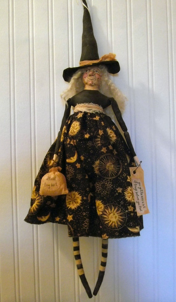 Primitive Folk Art Halloween Frog Witch Doll OOAK by Edna Bridges