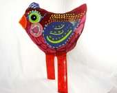 Fused Glass Standing Whimsical Bird Sculpture - Enidtraisman
