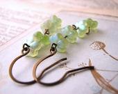 Margarita Green Czech glass flower earrings - shadowjewels