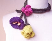 Picking Wildflowers...Freeform Knit Flower Art Necklace / Fiber Art Handmade Wedding