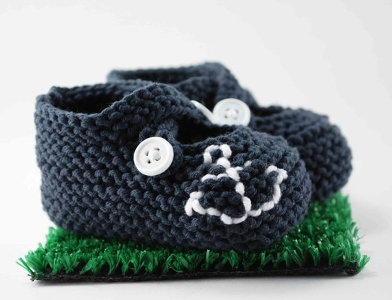 Ahoy Navy Anchor Baby Booties