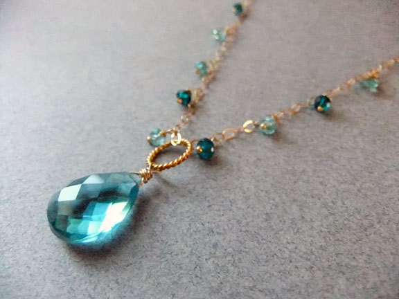 Mermaid Aqua Quartz Apatite and Amazonite Necklace - $60.00 USD