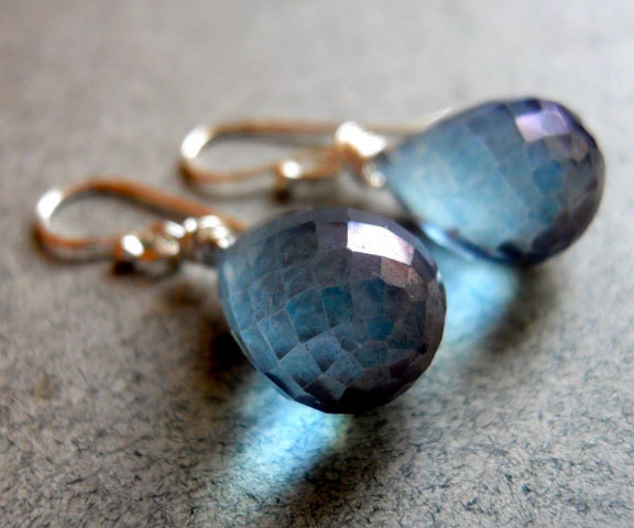 Good Jeans Earrings tanzanite blue quartz teardrops - $41.00 USD