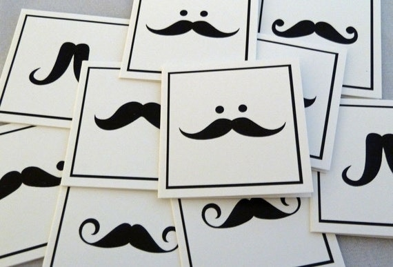 Movember MUSTACHE MADNESS mini note card set - 15 cards & envelopes