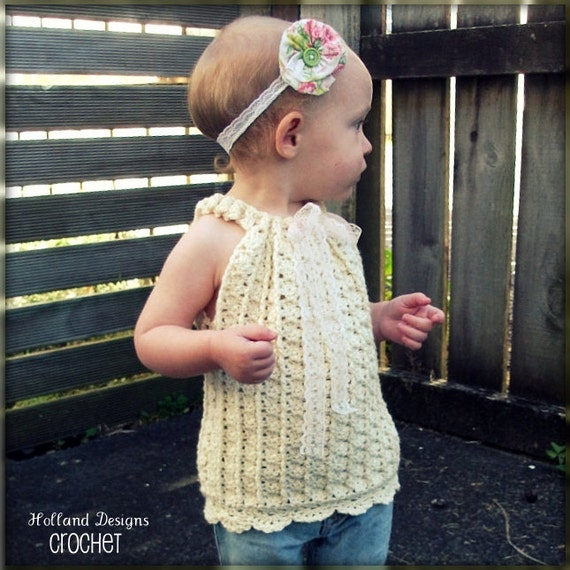 Download Now - CROCHET PATTERN Drawstring Halter Top or Pullover - Sizes 0-12 Years - Pattern PDF