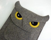 Owl New iPad and iPad 2 case - Gray felt - READY TO SHIP - BoutiqueID