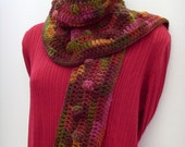 Lola Cola Scarf // Brown - Red - Gold - Green Bubbles // Autumn Leaf - Jewel Tone Colors // Crochet Fashion