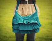 Peacock Ruffled Hobo Bag - Diaper Bag - Purse - Bible Bag