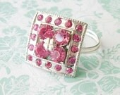 Pink Vintage Button Ring - mulryjewels