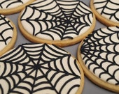 Spider Web Cookies - Set of 6 Orange Vanilla Spice Cookies - SweetAmbs
