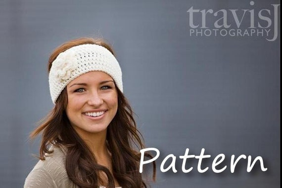 CROCHET PATTERN PDF - Instant Digital Download - Crochet Flower Headband / Earwarmer / Headwrap - Charity