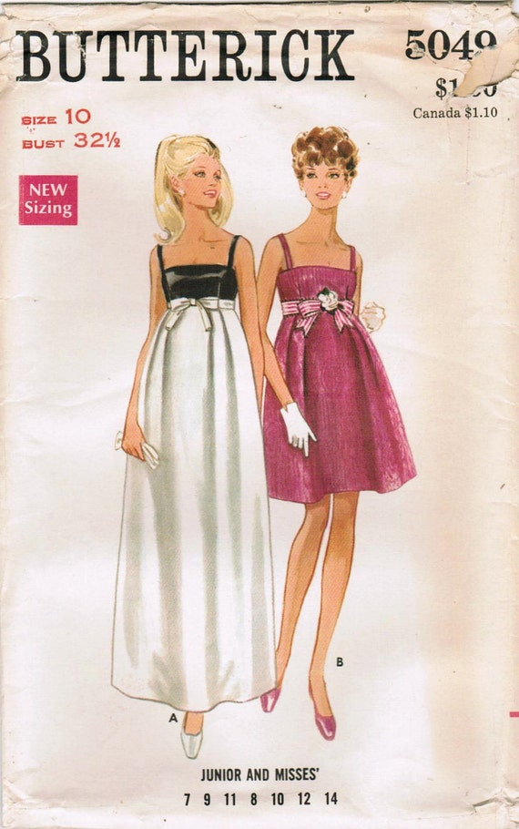 1960s Butterick 5049 UNCUT Vintage Sewing Pattern Misses' Evening Dress Size 10 Bust 32-1/2