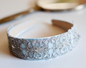 Pastel Blue French Beaded Lace Headband by bethany lorelle - bethanylorelle