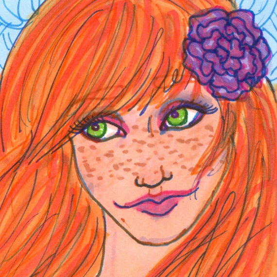 Redhead Girl ACEO Freckles Face Cute Female Original OOAK