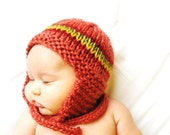 knit baby earflap hat and photo prop, newborn to 3 months - papaya - ready to ship, perfect baby shower gift - BaruchsLullaby