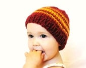knit baby hat and photo prop - fire and flames, cranberry with papaya and honey stripes, newborn to 3 months, ready to ship - BaruchsLullaby