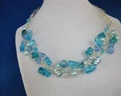 Wire Crochet Necklace shades of blue