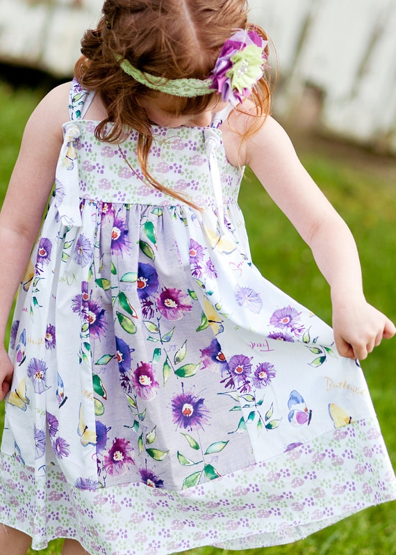 Girls Summer Knot Dress Butterflies and Sunshine