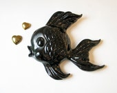 1950s Black Ceramic Fish Wall Plaque - Atomic Kitsch - BeeJayKay