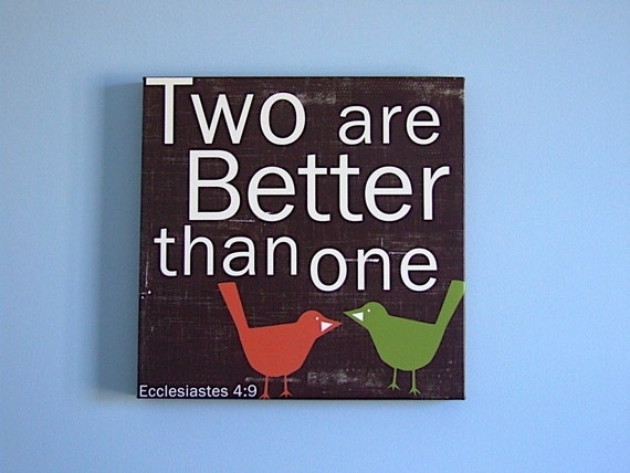 Two are Better than One - in Brown with Orange and Green Birds 20x20 GALLERY WRAP CANVAS