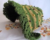 SALE Antique Crocheted Hat, Bonnet, Shaped, Green and Gold with Beads - IndulgeYourShelf