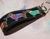 Wrist Key Chain - Key Fob Wristlet Keychain -  Cute Funky Dachshund Daschund Dogs -  Wiener Dog