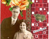 Collage Art Card Handmade Vintage Style Word Art Whimsical Geekery Original Quirky Couple Retro-- She Loved Him Deeply