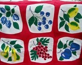 Vintage 1950s Harmony House Fruit Print Tablecloth - BlackRain4
