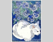 Little White Cat in the Garden ACEO by Theodora - THEODORADESIGNS