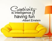 Creativity Albert Einstein quote script Vinyl Wall Decal