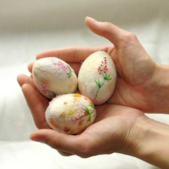 beaded colored felted egg decor for Easter holiday
