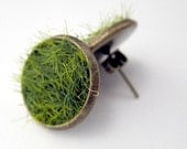Green Grass Earring Posts