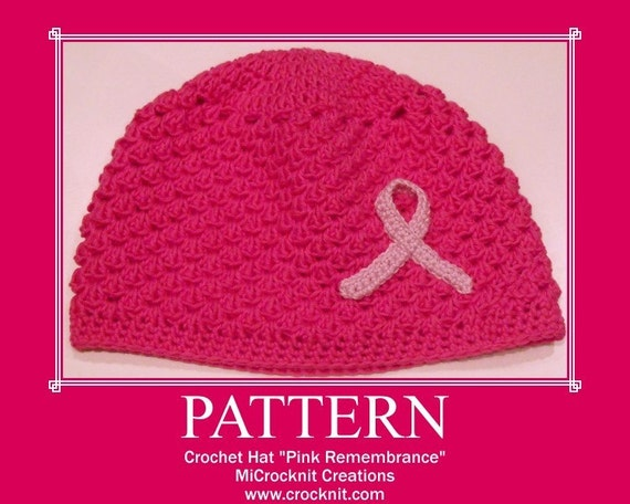 PATTERN Crochet Hat PINK REMEMBRANCE charity cancer  Instant pdf download