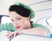 Vintage Retro Pinup Hair Snood in Mint Green Crocheted from 1940's Design NEW Color - ArtheliasAttic