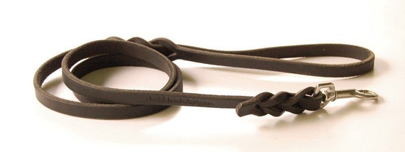 4 foot long Traditional Leash in BLACK, choice of width size