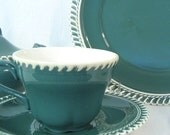 Retro Dishes Harker CORINTHIAN Teal Pate Sur Pate Vintage Dinnerware 25 Pieces - bythewayside