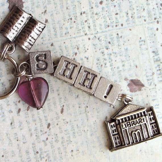Librarian SHH Library Keychain Purse Charm