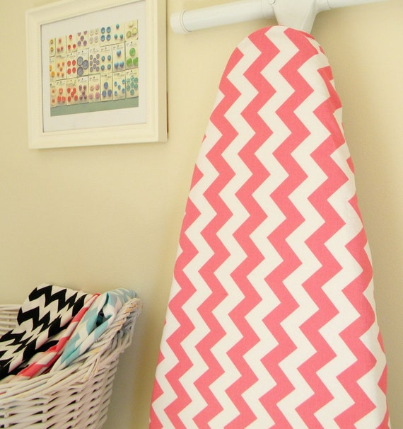 Ironing Board Cover - Hot Pink and White Chevron - Riley Blake