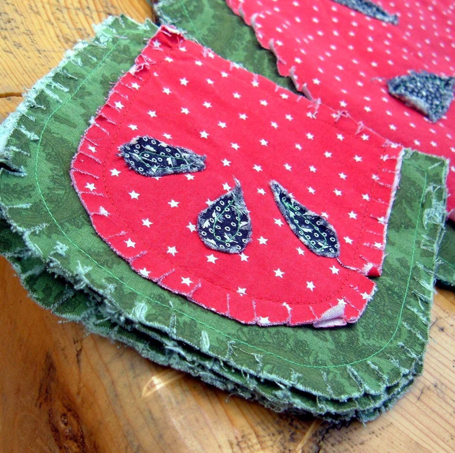 Watermelon Rag Quilt Table Runners