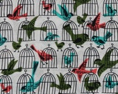 Michael Miller Vintage Inspired Little Birds with Cages Fabric by the Yard - TwigsAndTwist